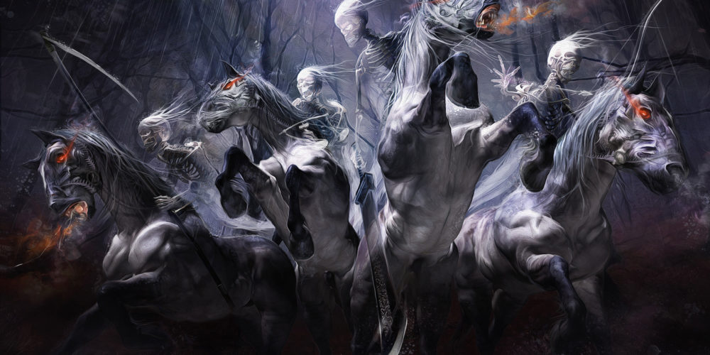 illustration by Yayashin - Dark fantasy - four horsemen