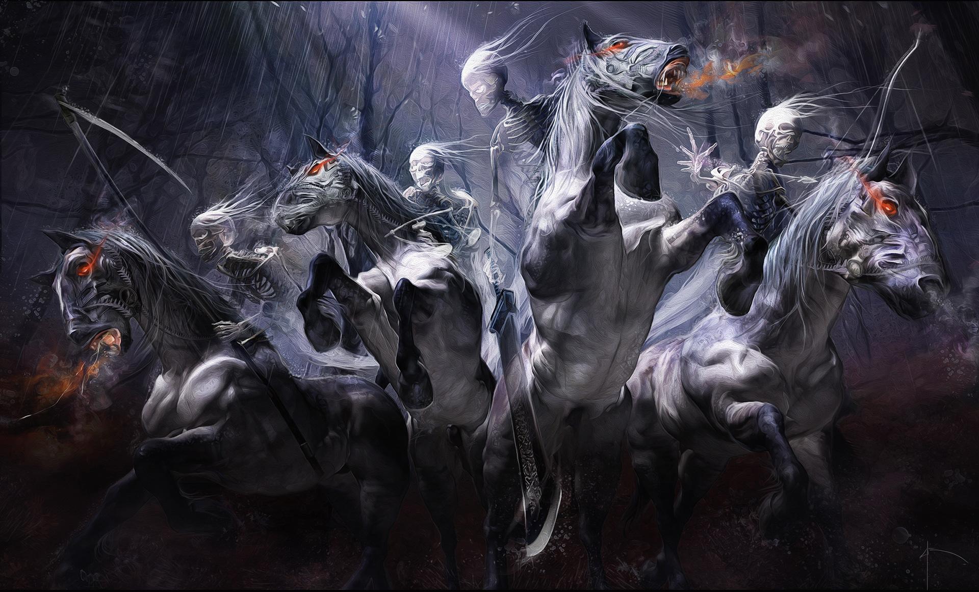 illustration by Yayashin - Dark fantasy - four horsemen
